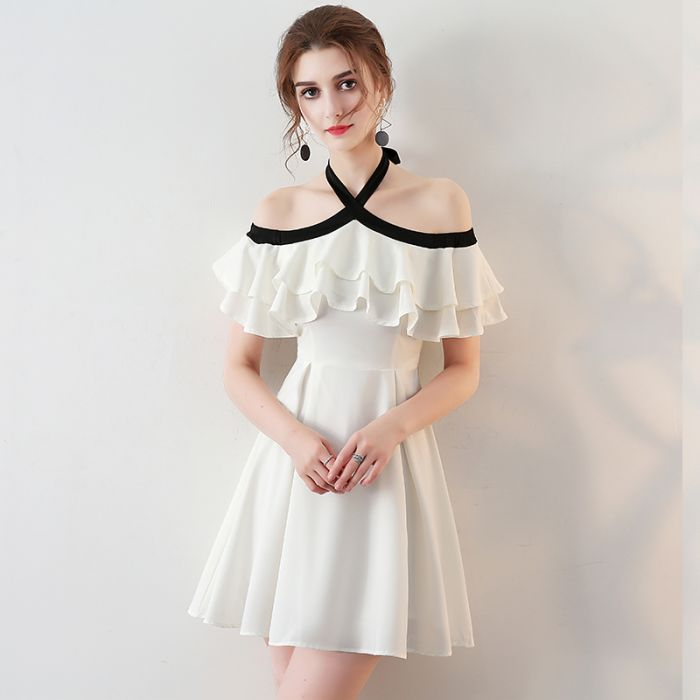 20f8a15708f Chic Halter Homecoming Dress Simple White Cheap Short Prom Dress AM060 –  AmyProm