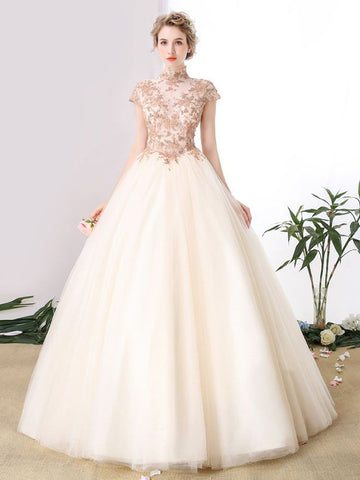 2017 Chic A-line High Neck Short Sleeve Appliques Tulle Ball Gowns Evening Gowns/Wedding Dresses AM061