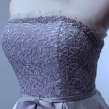 Chic A-line Strapless Homecoming Dress Modest Silver Cheap Short Prom Dress AM065