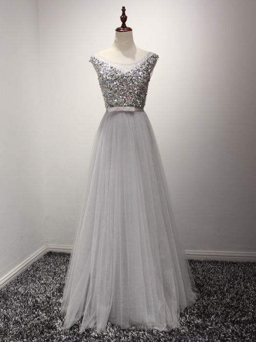 2017 Chic A-line Scoop Silver Beading Tulle Simple Prom Dress/Evening Dress AM066