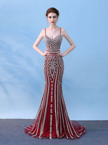 Mermaid Spaghetti Straps Burgundy Long Prom Dress Chic Evening Party Dress AM067