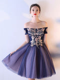 Chic Homecoming Dress Off-the-shoulder Blue Tulle Cheap Short Prom Dress AM069