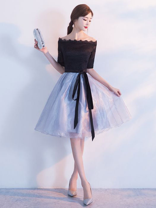 Chic Homecoming Dress Off-the-shoulder Black Off-the-shoulder Tulle Cheap Short Prom Dress AM070