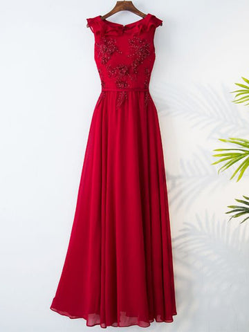 2017 Chic A-line Scoop Red Beading Chiffon Modest Prom Dress/Evening Dress AM072
