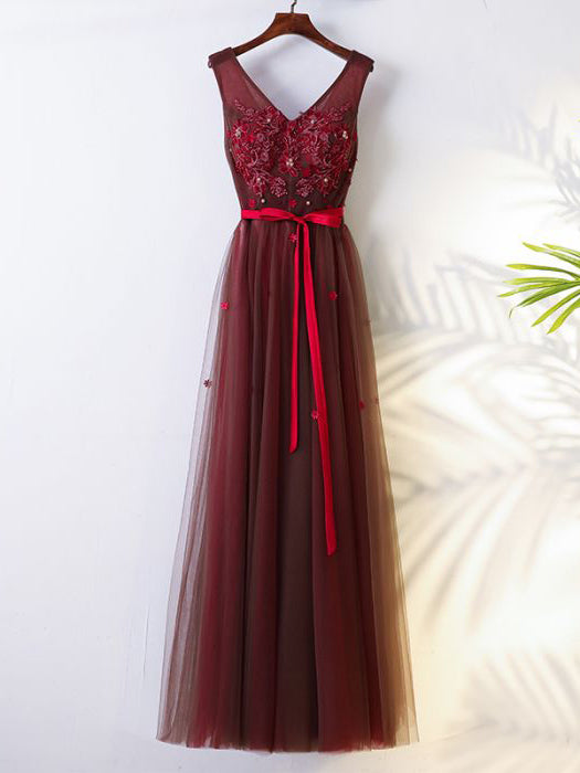 2017 Chic A-line V-neck Burgundy Applique Tulle Modest Prom Dress/Evening Dress AM073