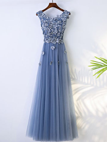 2017 Chic Long Prom Dress A-line Scoop Blue Sleeveless Appliques Tulle Cheap Evening Dress AM074