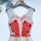 Chic Homecoming Dress A-line V-neck Red Tulle Cheap Short Prom Dress AM077