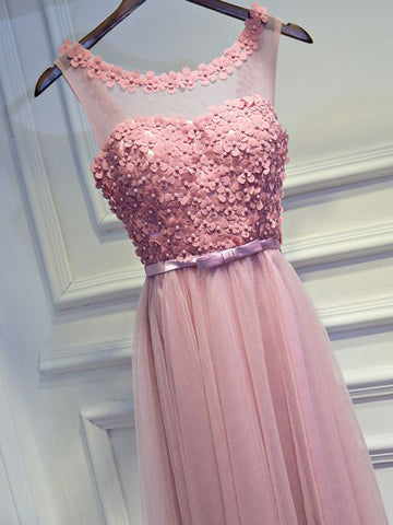 2017 Chic Prom Dress A-line Pink Scoop Tulle Cheap Evening Dress AM078