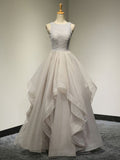A-line Ball Gown Scoop Silver Long Prom Dress Chic Evening Party Dress AM080