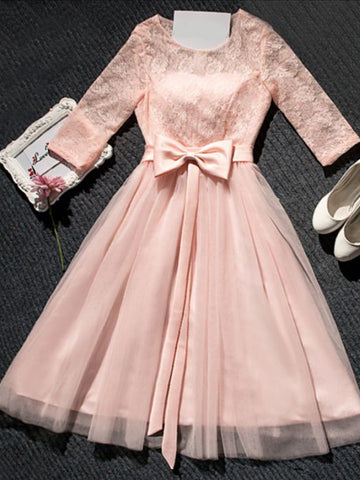 Chic Homecoming Dress A-line Scoop Pink Tulle Cheap Short Prom Dress AM085