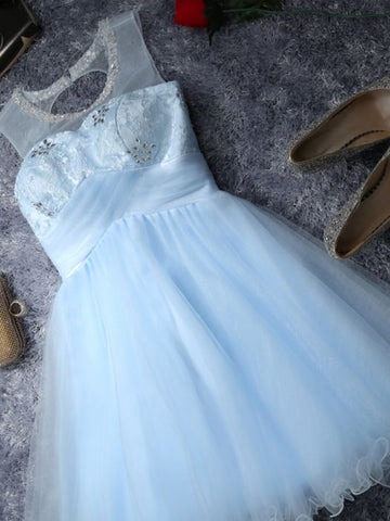 Chic Homecoming Dress A-line Scoop Blue Tulle Cheap Short Prom Dress AM086