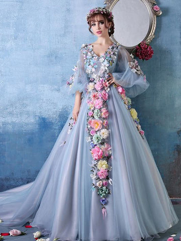 2017 Chic Prom Dress A-line V-neck Blue Long Sleeve Tulle Cheap Evening Dress AM087