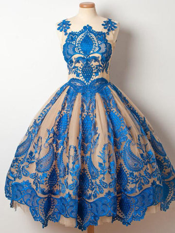 Chic Blue A-line Homecoming Dress Straps Vintage Applique Juniors Homecoming Dresses AM089