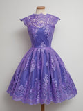 2017 Vintage Homecoming Dress High Neck Purple Tulle Short Prom Dress AM091