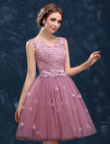 Modest A-line V-neck Homecoming Dress Pink Cheap Chic Short Prom Dress AM095