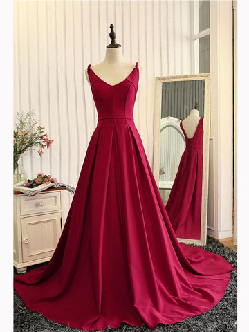 Simple A-line V Neck Burgundy Long Prom Dress Chic Evening Party Dress AM096