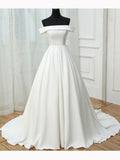 2017 Chic A-line Off Shoulder White Satin Simple Evening Gowns/Wedding Dresses AM098
