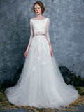 Two Pieces Chic Wedding Dress Lace A-line Bateau White Wedding Dresses Vintage AM099