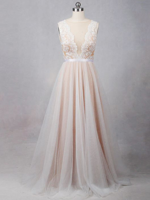 2017 Chic A-line Bateau Pearl Pink Tulle Modest Evening Gowns/Wedding Dresses AM100
