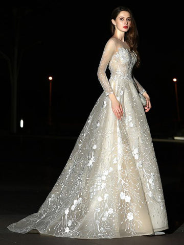 Chic Ball Gown Wedding Dress Bateau Applique Cheap Wedding Dresses Evening Dresses AM102