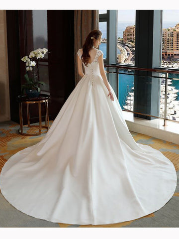 Chic High Neck Ball Gown Wedding Dress Applique Cheap Wedding Dresses AM103