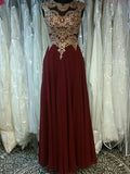 2017 A-line Scoop Chiffon Burgundy Appliques Chic Prom Drsess/Evening Dress AM105
