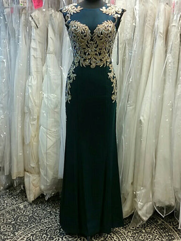 2017 Chic Sheath/Column Scoop Dark Green Applique Tulle Modest Prom Dress/Evening Dress AM106