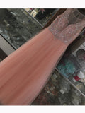 2017 Chic Prom Dress A-line Tulle Scoop Pink Beading Evening Gown Dress AM107