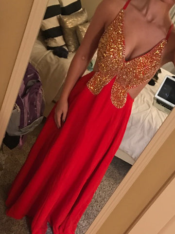 2017 Chic Prom Dress A-line Chiffon Spaghetti Straps Beading Red Evening Gown Dress AM108