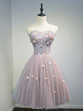2017 Chic Homecoming Dress Sweetheart Pink Applique Tulle Short Prom Dress AM111