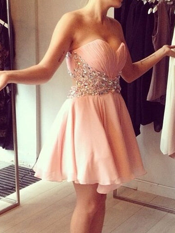 Chic A-line Sweetheart Modest Homecoming Dress Chiffon Pink Cheap Short Prom Dress AM116
