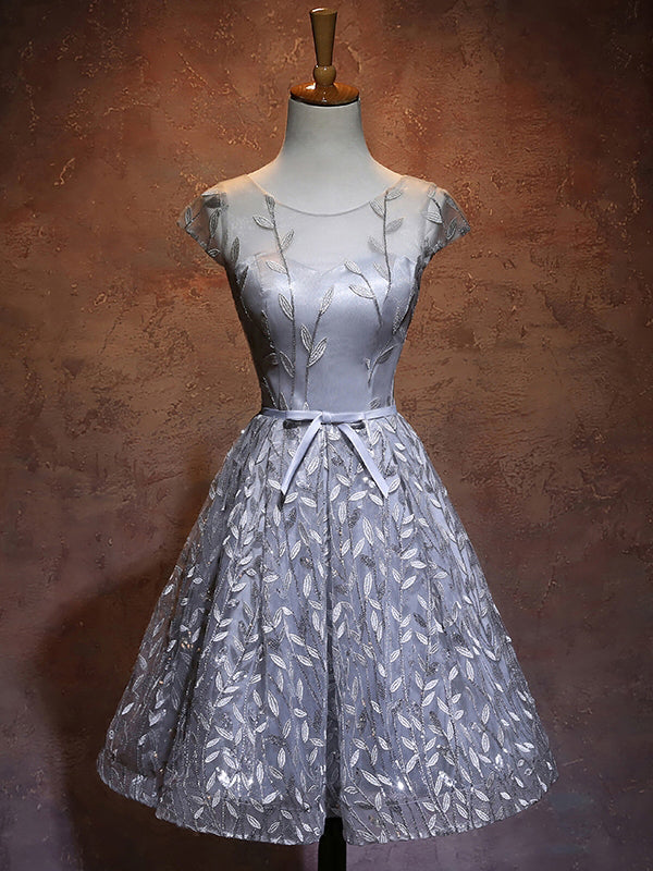 A-line Chic Gray Homecoming Dress Modest Scoop Applique Modest Cheap Short Prom Dress AM120