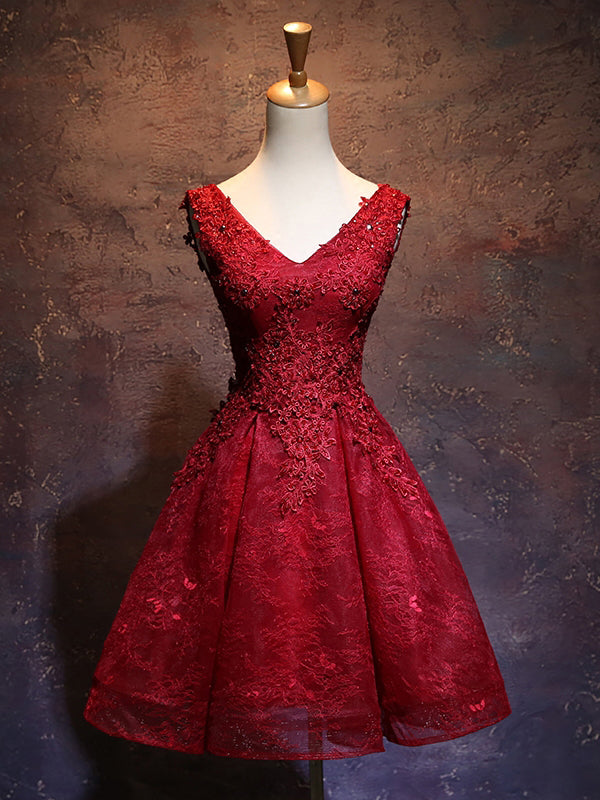 A-line Chic Red Homecoming Dress Modest V-neck Lace Modest Cheap Short Prom Dress AM121