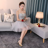 A-line Chic Homecoming Dress Modest Sweetheart Silver Beading Modest Cheap Short Prom Dress AM122