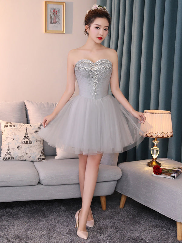 b11cc7a92e1 A-line Chic Homecoming Dress Modest Sweetheart Silver Beading Modest Cheap  Short Prom Dress AM122 – AmyProm
