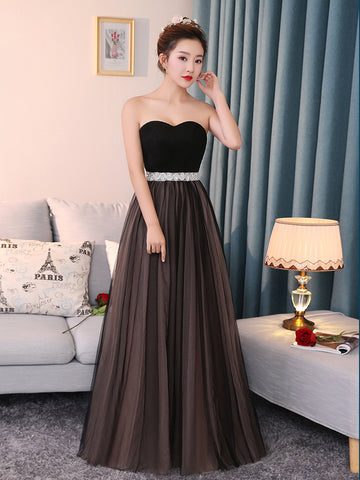 2017 Chic Long Prom Dress A-line Sweetheart Chocolate Sleeveless Ruffles Tulle Cheap Evening Dress AM123