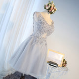 A-line Chic Homecoming Dress Modest V-neck Silver Applique Modest Cheap Short Prom Dress AM124