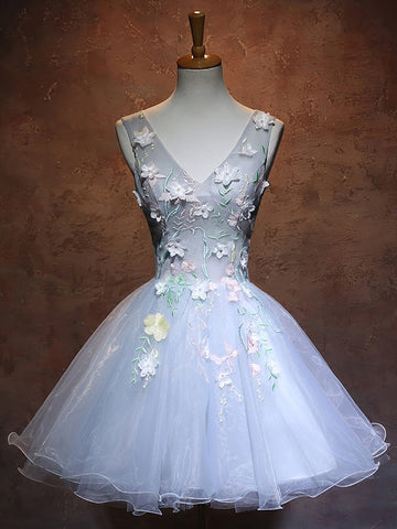 A-line Chic Homecoming Dress Modest V-neck Light Blue Organza Applique Modest Cheap Short Prom Dress AM125
