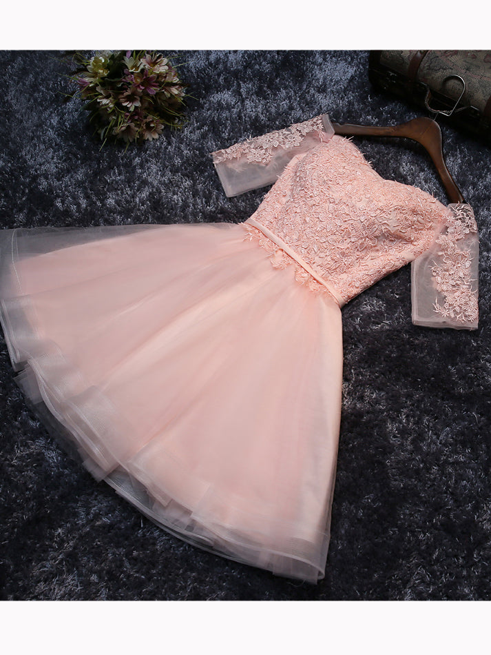 2017 Chic Homecoming Dress Off-the-shoulder Pink Applique Tulle Short Prom Dress AM131