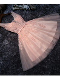 2017 Chic Homecoming Dress V-neck Pink Applique Tulle Short Prom Dress AM132