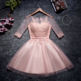 2017 Chic Homecoming Dress Scoop Pink Applique Tulle Short Prom Dress AM133