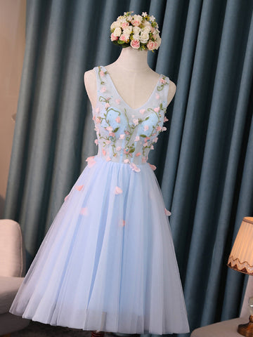 2017 Chic Homecoming Dress V-neck Knee Length Tulle Blue Short Prom Dress AM136
