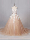 2017 Chic A-line Spaghetti Straps Pearl Pink Tulle Modest Cheap Lace Wedding Dresses AM139