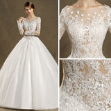 2017 Chic A-line Bateau Long Sleeve Tulle Modest Cheap Lace Wedding Dresses AM141