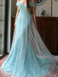Trumpet/Mermaid Off-the-shoulder Blue Tulle Lace Sequins Long Prom Dress Evening Dress AM144