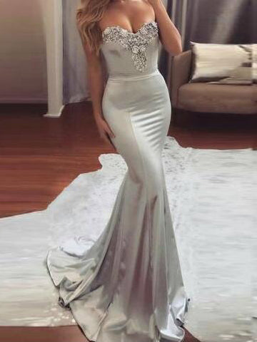 Chic Trumpet/Mermaid Sweetheart Silver Elastic Woven Satin Beading Long Prom Dress Evening Dress AM149