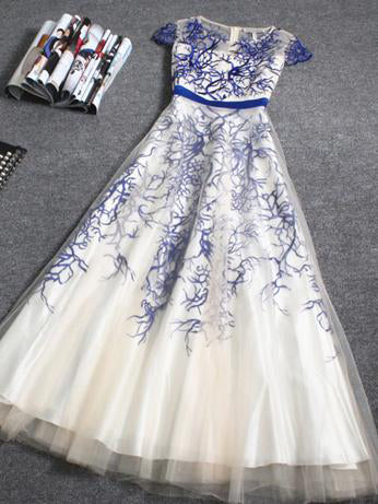 Chic A-line Scoop Royal Blue Tulle Appliques Cheap Long Prom Dress Evening Dress AM150