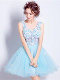 Chic A-line V-neck Blue Homecoming Dress Tulle Short Prom Dress Party Dress AM155