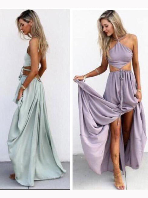 Chic A-line Two Pieces Spaghetti Straps Lavender Prom Dress Sleeveless Evening Dress Party Dress AM156