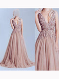 Chic A-line Champagne V-Neck Tulle Modest Applique Long Prom Dress Evening Dress AM159